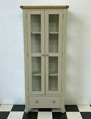 £155 • Buy Chester Stone Painted Oak Top Glazed Bookcase Display Cabinet RRP £379 -Delivery