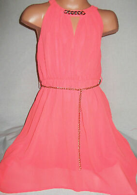 £1.99 • Buy GIRLS NEON CORAL GRECIAN STYLE CHAIN TRIM CHIFFON PARTY DRESS Age 2-3