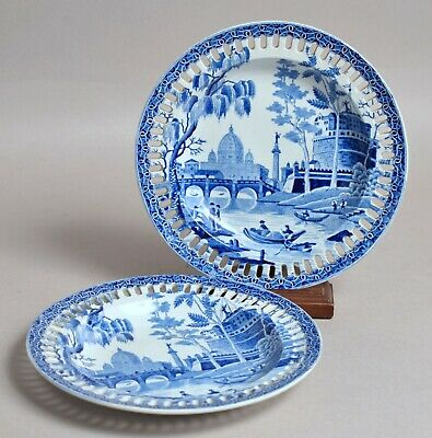 £25 • Buy Fine Quality Pair Antique Spode 'tiber' Pearlware Transfer Printed Plates