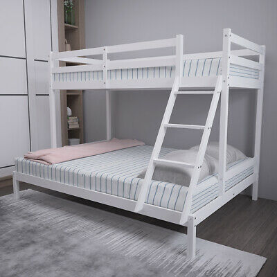 £179.99 • Buy Double Bed Triple Bunk Beds Kids Children White Wooden Bed Frame With Stairs