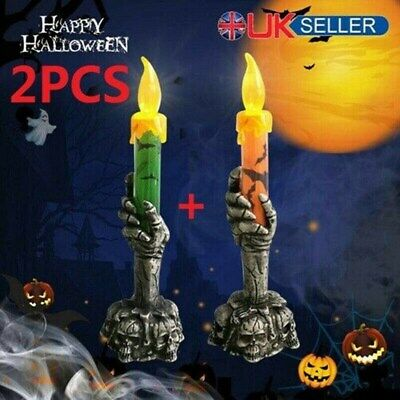 £6.95 • Buy 2PCS Halloween Skeleton Hand Led Lamp Candle Flame Light Stand Lamp Party Decor