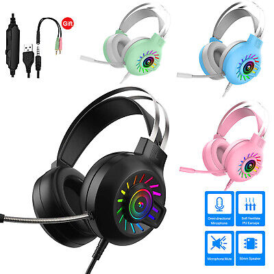 AU29.89 • Buy Gaming Headset With Mic RGB Backlit For Xbox One, PS4, Nintendo Switch & PC Mac