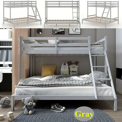 £104 • Buy Double Bed Bunk Beds Triple Pine Wood Kids Children Bed Frame With Stair White