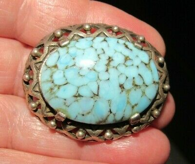 £3 • Buy Vintage Signed Miracle Jewellery Scottish Celtic Blue Glass Turquoise Brooch Pin
