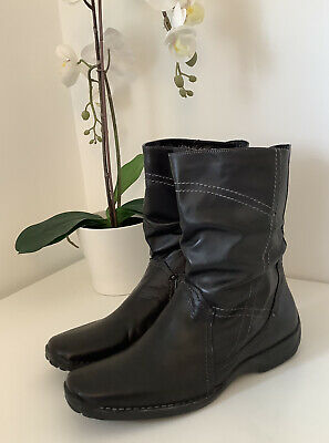 £7.99 • Buy Ladies K By CLARKS Comfort Black Leather Mid Calf Boots, UK Size 8E Wide Fit