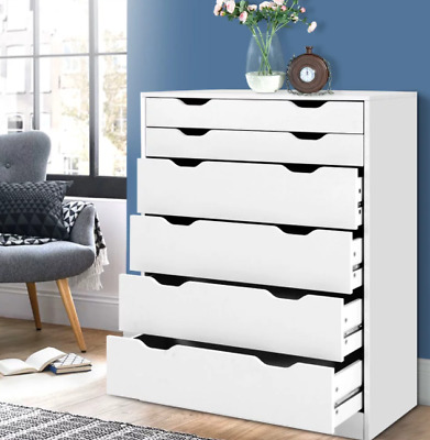 AU129 • Buy Artiss 6 Chest Of Drawers Tallboy Dresser Table Storage Cabinet White Bedroom