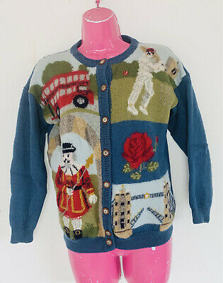 £19.99 • Buy Tulchan Cardigan London Theme Front Size Small Vintage Wool England Red Bus