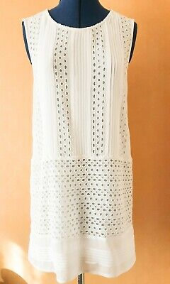 £3.20 • Buy White Stuff Pale Cream Longline Sleeveless Embroidered Top - Size 12