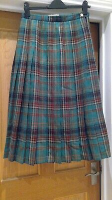 £4.99 • Buy Ladies Cotswold Collection Pure New Wool Tartan Pleated Skirt - Size 12 VGC