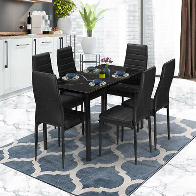 AU329.95 • Buy Glass Dining Table Set Black With 6 Faux Leather Chairs Seat Kitchen Furniture