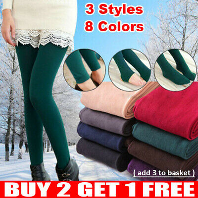 £5.99 • Buy UK Ladies Women's Winter Warm Fleece Lined Thick Thermal Full Foot Tights Pants