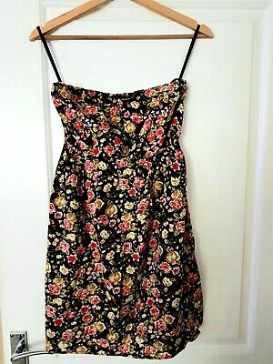 £1.10 • Buy Atmosphere- Black Floral Bandeau Top, Size 14, Used. Gold Button Detail.
