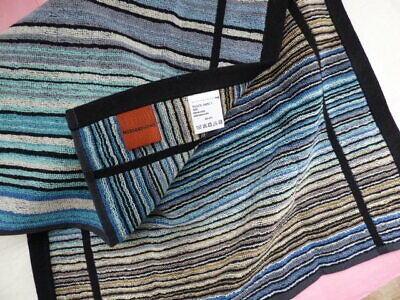 £35 • Buy Missoni Home Guest Hand Towel PAIR Blues Striped Cotton NEW Set Of 2 Sauna Spa
