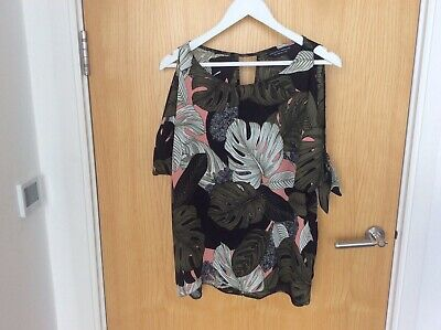 £0.90 • Buy Dorothey Perkins Loose Fit Top With Cut Out Shoulders & Ties  Size 10
