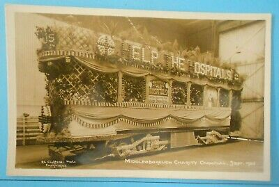 £7.50 • Buy RP Postcard SEPT,1925 CHARITY CARNIVAL DECORATED TRAM MIDDLESBOROUGH YORKSHIRE