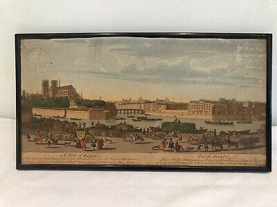 """£40 • Buy 18th Century Laurie & Whittle 1794 Coloured Engraving """"A View Of Paris France"""