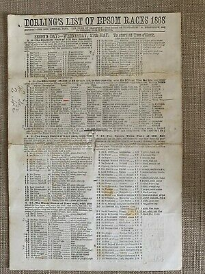 £250 • Buy 1868 Derby Stakes Race Card (Blue Gown)