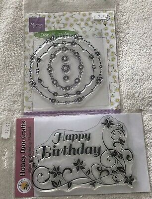 £3 • Buy CLEAR CRAFT STAMPS X 2 HAPPY BIRTHDAY/ CIRCLES Butterflies Hearts Flowers NEW