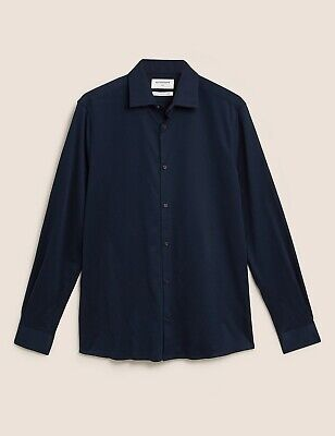 £16.99 • Buy M&S Autograph Navy Shirt Size L 16-16.5 Collar Slim Fit Luxury Knitted Fabric