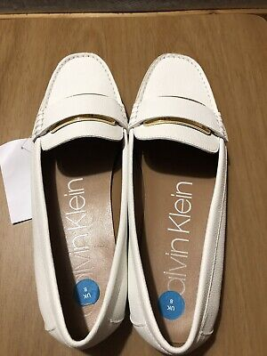 £20 • Buy Calvin Klein Women's Flat Moccasin Shoes In White Leather