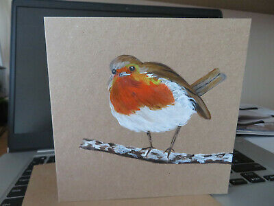 £3 • Buy HAND PAINTED CHRISTMAS CARD. 'Robin' (Real Acrylic Painting) 8 By 6