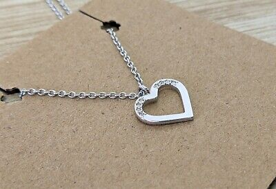 £29.95 • Buy Swarovski Silver & Crystal Heart Pendant Charm Necklace Rhodium Plated Bling