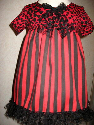 £23.50 • Buy Red Gothic Baby Dress Girls Black Hearts Striped Lace Headband Set Party Holiday