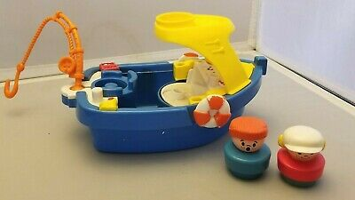 AU24.83 • Buy Fisher Price Little People Boat Fisherman's Boat & 2 Chunky People Fishing