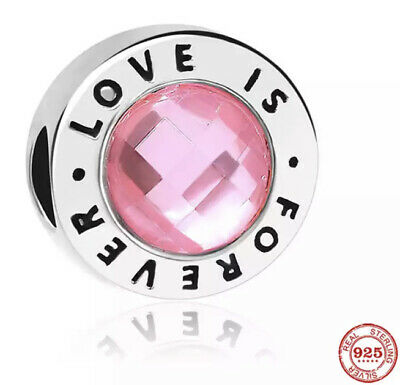 AU11.50 • Buy SOLID Sterling Silver 925 Round Pink Love Is Forever Charm CZ