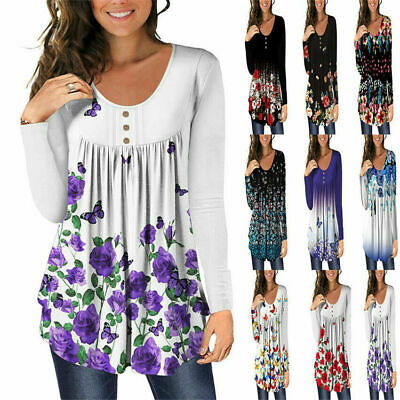 £10.86 • Buy Womens Casual Floral Long Sleeve Tops Ladies Loose T-Shirt Pullover Tunic Blouse