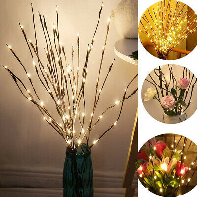 £7.99 • Buy 2 PACK 20 LED Tree Branch Led Light Battery Decor Willow Twig Branch Lights Lamp