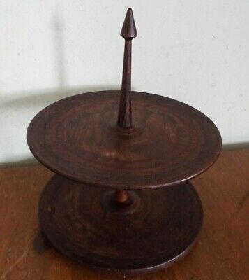 £14.99 • Buy Lovely Vintage Wooden Cake Stand - Afternoon Tea Cakes / Sandwiches - 26cm High