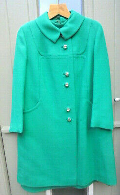 £31 • Buy Vintage Rensor Green Pure New Wool Dress And Coat 1960's Dress Suit Size 14