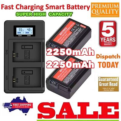 AU64.77 • Buy 2NP-FW50 2250mAh+Dual Charger For Sony Alpha A3000 A3500 A6000 A6300 A6400 A6500