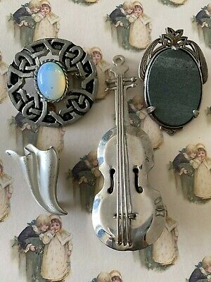 £3 • Buy Costume Jewellery Vintage Brooches Double Bass Celtic Silver Tone Monet Miracle