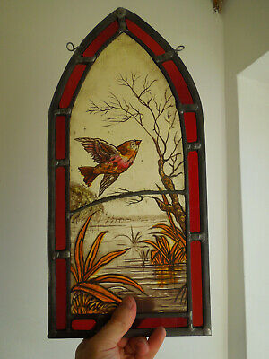 £3.20 • Buy Antique Stained Glass Fragment Window Of A Bird Victorian Arts & Crafts