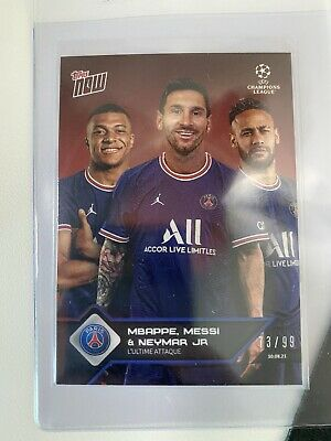 AU32.27 • Buy MESSI MBAPPE NEYMAR @ PSG Paris UCL TOPPS NOW Card 13 Red 73/99 Clean