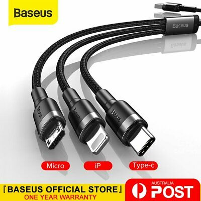 AU8.99 • Buy Baseus 3 In 1 Multi USB Charger Charging Cable Cord For IPhone Samsung Google