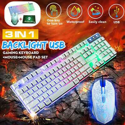 AU18.80 • Buy Gaming Keyboard Wired And Mouse Set Rainbow LED Backlight US