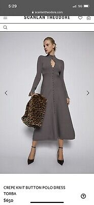 AU400 • Buy Scanlan Theodore Crepe Knit Polo Dress Size Small