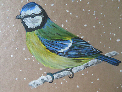 £3 • Buy HAND PAINTED CHRISTMAS CARD. 'Blue Tit' (Real Acrylic Painting) 8 By 6