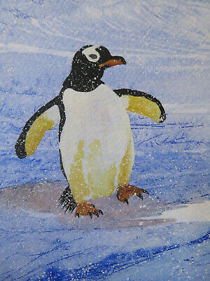 £3.50 • Buy HAND PAINTED CHRISTMAS CARD.'Penguin In  Snow' (Real Watercolour) 8 By  6.