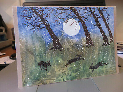 £3.50 • Buy HAND PAINTED CHRISTMAS CARD.'HARES In Moonlit Snow'(Real Watercolour) 8 By  6.