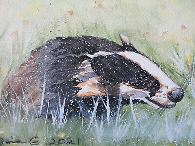 £3.50 • Buy HAND PAINTED CHRISTMAS CARD. 'Badger In Winter ' (Not A Print) 8 By  6.