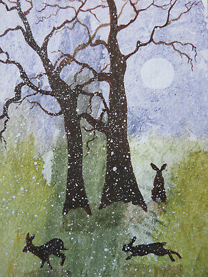 £3.50 • Buy HAND PAINTED CHRISTMAS CARD. 'Hares In Moonlight ' (Real Watercolour) 8 By  6.