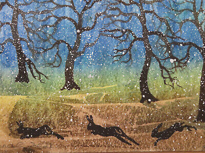 £3 • Buy HAND PAINTED CHRISTMAS CARD. 'Hares In Winter ' (Real Watercolour) 7 By  5.