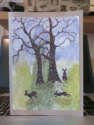 £3 • Buy HAND PAINTED CHRISTMAS CARD. 'Hares In Winter ' (Real Watercolour) 8 By  6.