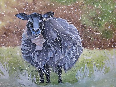 £3.50 • Buy HAND PAINTED CHRISTMAS CARD. 'Winter Woolley Sheep' (Real Watercolour) 8 By 6