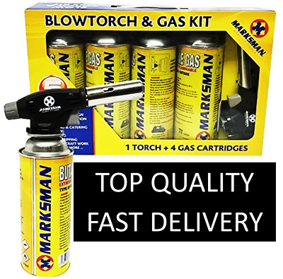 £14.89 • Buy Butane Gas With Blow Torch Flamethrower Burner Welding Auto Ignition Camping Kit