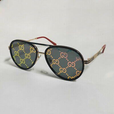 AU213 • Buy GUCCI GG0982S Gold-Red Frame Sunglasses Pink Lens With GG Motif